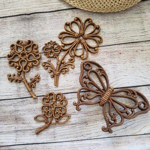 Vintage Homco flower butterfly wall decor